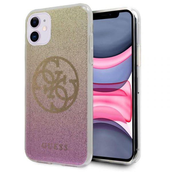 Carcasa iPhone 11 Guess Glitter Rosa y Dorado 1