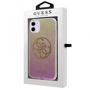 Carcasa iPhone 11 Guess Glitter Rosa y Dorado 4