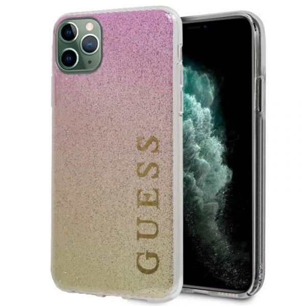 carcasa iphone 11 pro max licencia guess glitter letras rosa y dorado 1