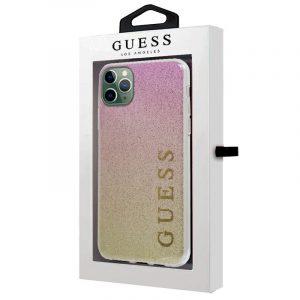 carcasa iphone 11 pro max licencia guess glitter letras rosa y dorado 2