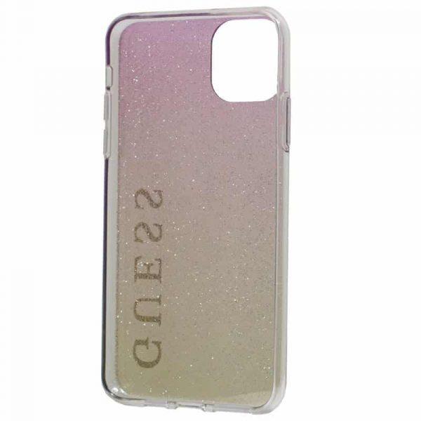 carcasa iphone 11 pro max licencia guess glitter letras rosa y dorado 3