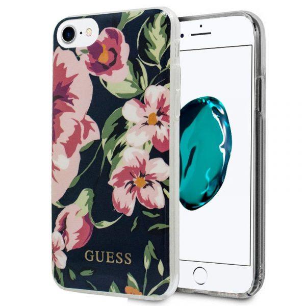 carcasa iphone 6 7 8 se 2020 licencia guess flores negro 1