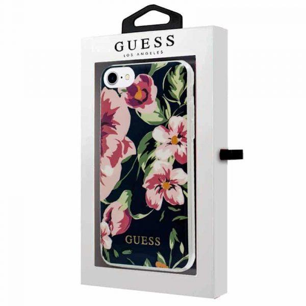 carcasa iphone 6 7 8 se 2020 licencia guess flores negro 2