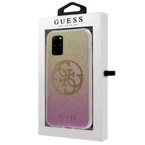 carcasa samsung galaxy s20 plus licencia guess glitter rosa y dorado 2