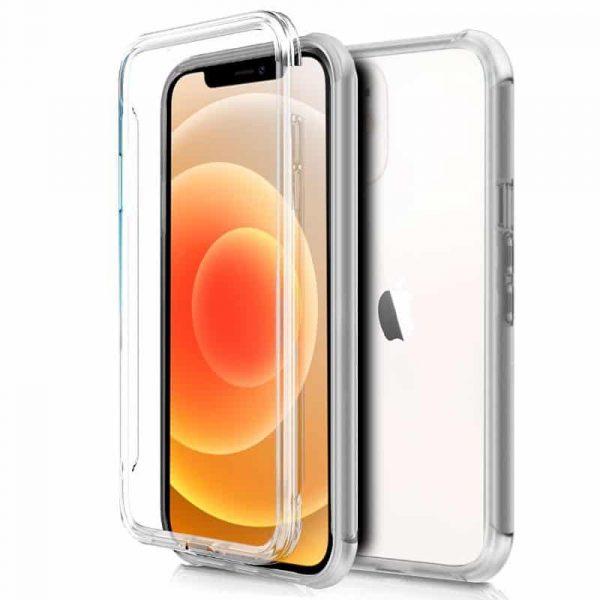 funda silicona 3d iphone 12 mini transparente frontal trasera 1