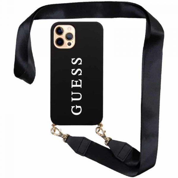 carcasa iphone 12 pro max licencia guess negro colgante 1