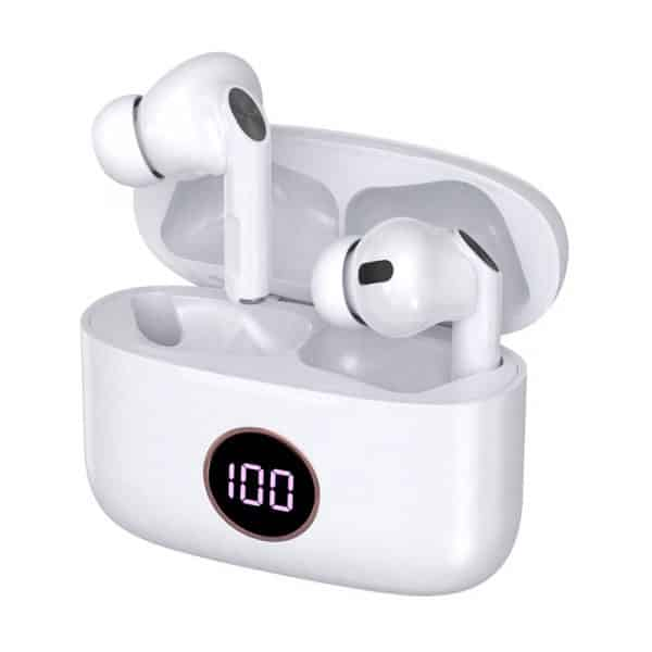 auriculares stereo bluetooth dual pod earbuds lcd cool air pro blanco 1