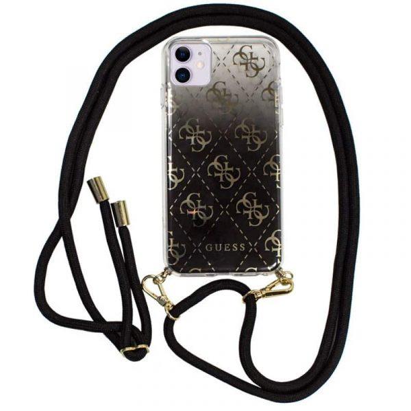 carcasa iphone 11 licencia guess cordon negro transparente 1