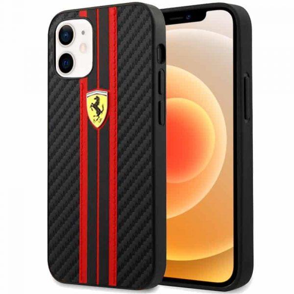 carcasa iphone 12 mini licencia ferrari carbono negro 1