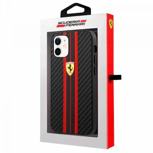 carcasa iphone 12 mini licencia ferrari carbono negro 2