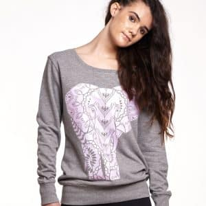 sudadera entallada larga indian elephant gris 3