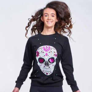 sudadera entallada mexican skull negra 3
