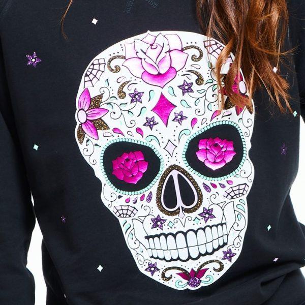 sudadera entallada mexican skull negra 4
